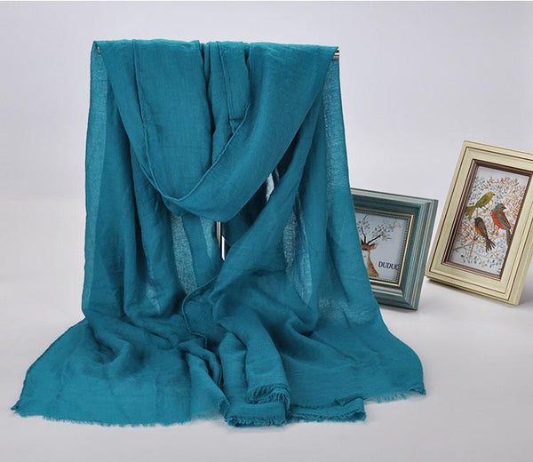 Cotton Linen Vintage Long Shawl Women Scarf Fashion Accessories E1401A - FantasyLinen