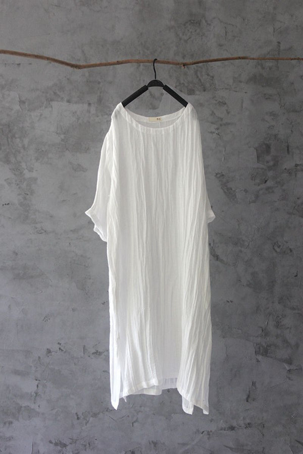 Summer Women Loose Lattice Casual Linen Cotton Dress