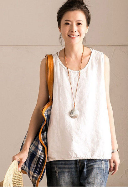 White Summer Linen Loose T-shirt For Women Top B102B