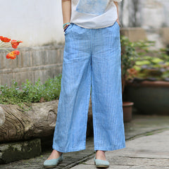 Linen Loose Casual Blue Striped Women Trouses Wide Legs