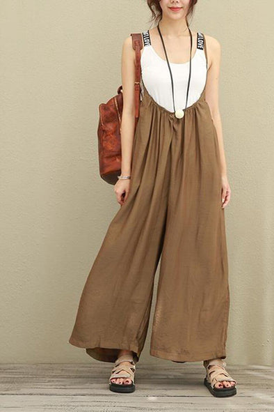 Brown Wide Leg Loose Silk Overalls Women Clothes - FantasyLinen
