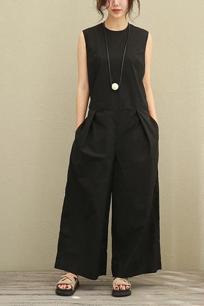 Black Sleeveless Loose Casual Cotton Overalls Women Clothes