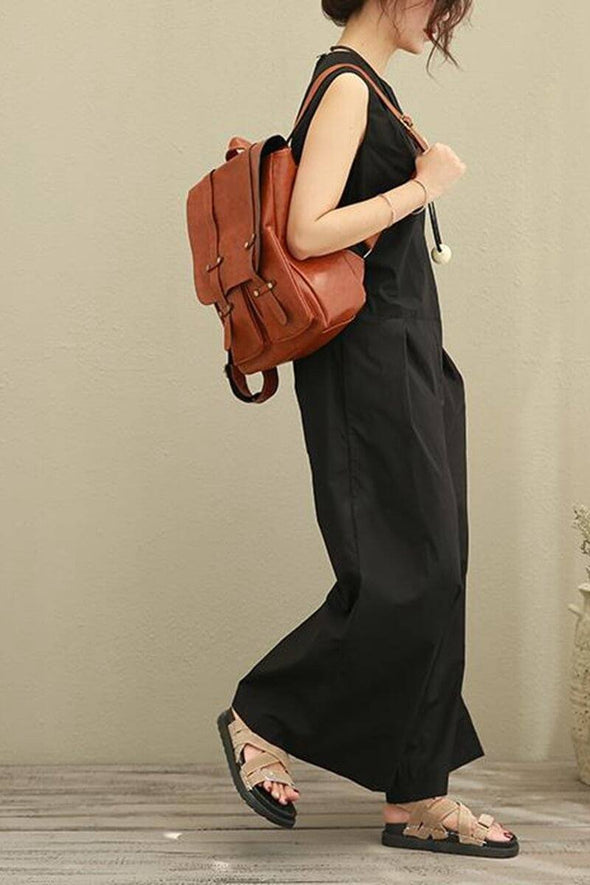 Black Sleeveless Loose Casual Cotton Overalls Women Clothes - FantasyLinen