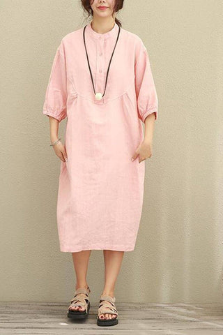 Plus Size Puff Sleeve Loose Cotton Linen Shirt Dress Women Clothes