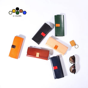 Fashion Handmade Glasses Case Cow Leather Eyeglasses Box Bag