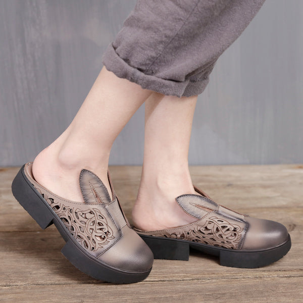 Handmade Cute Rabbit Women Slippers Platform Shoes Cowhide Leather Sandals