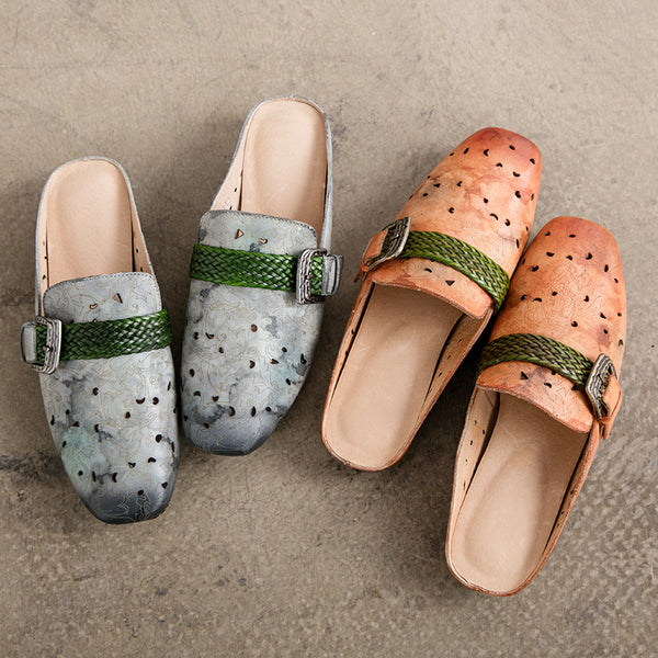 Vintage Handmade Leather Sandals Gray Women Slippers Platform Shoes