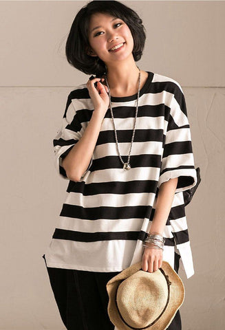 Black and White Stripe T-Shirt Summer Women Clothes T1717B