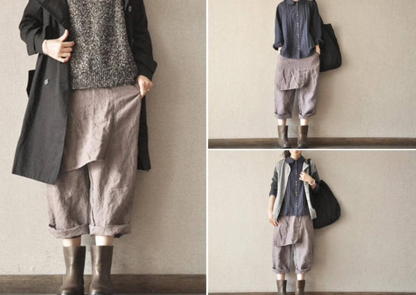 Three colors Linen Turnip Pants Simple Causel Trousers Women Clothes LR460 - FantasyLinen