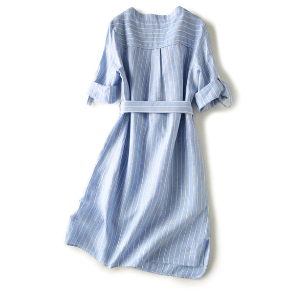 Linen Summer Dresses Blue White Stripe Clothing For Women