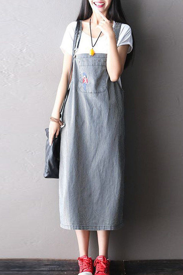 Stripe Jeans Condole Belt Long Dress Q0804 - FantasyLinen
