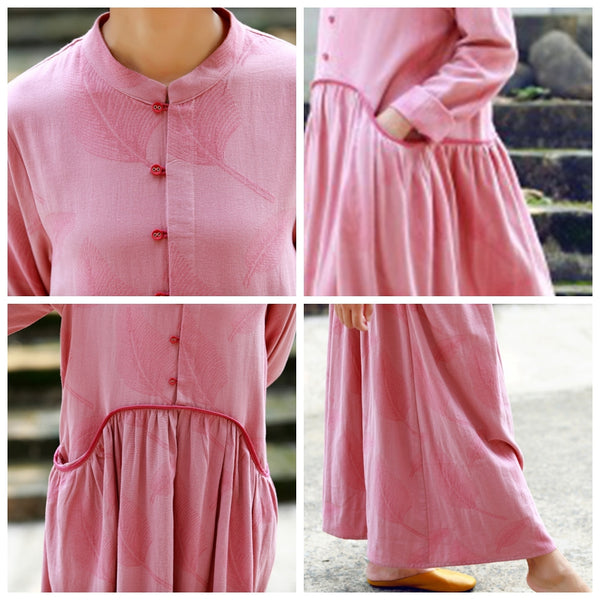 A-Line Pink Long Sleeved Retro Dress For Women
