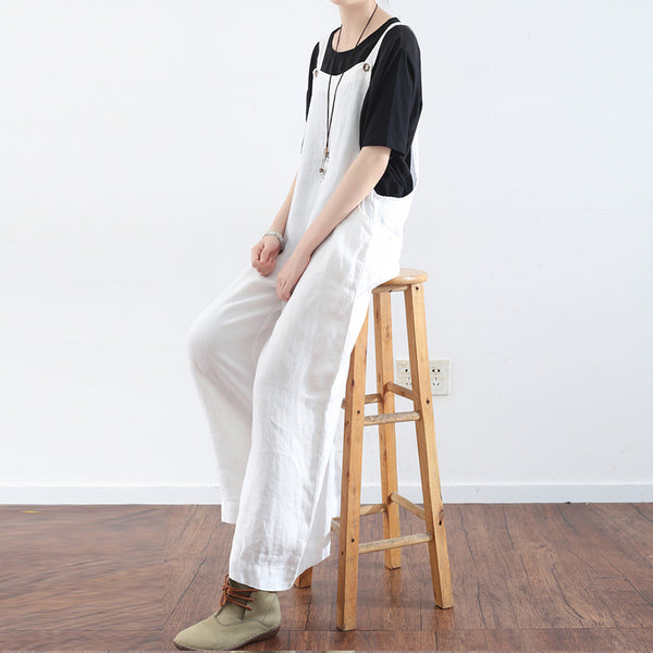 Loose Casual Linen Wide Leg Overalls For Women