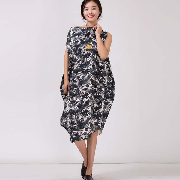 Women's Irregularity Linen Printed Dresses