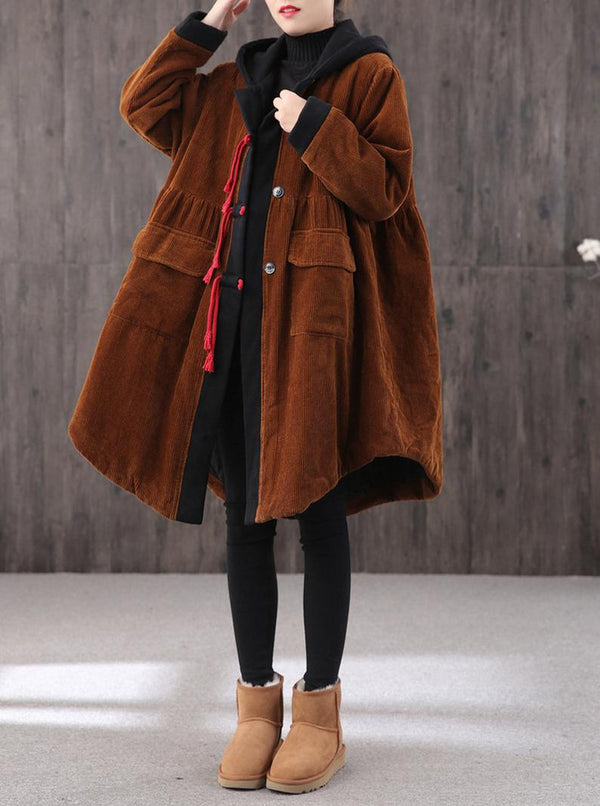 Mid-length Retro Winter Padded Warm Corduroy Casual Coat Women's Hooded Green Trench Coat Corduroy Over coat