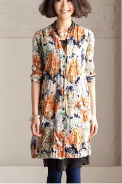 Big Flower Long Shirt Open Loose Cotton Flower Top Long Sleeve Romantic Women Dress