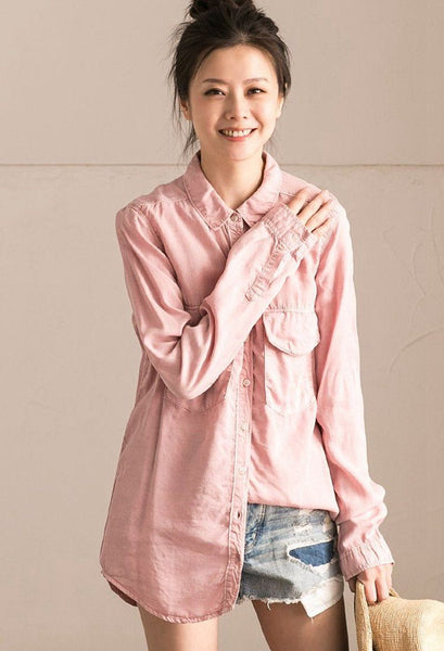 Pink Simple Spring Pure Long Sleeve Shirt Women Clothes C0233B