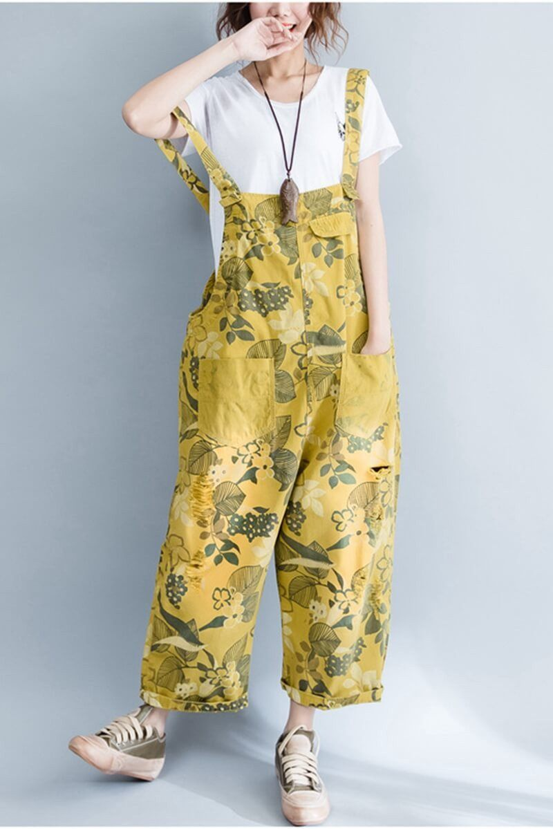 reputation first new authentic great discount for Yellow Denim Loose Casual Overalls Women Clothes