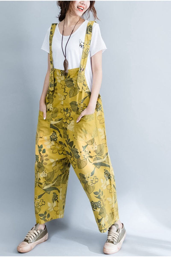 Yellow Denim Loose Casual Overalls Women Clothes - FantasyLinen