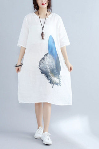 Blue Feather White Linen Korean Loose Dress Comfort Women Clothes