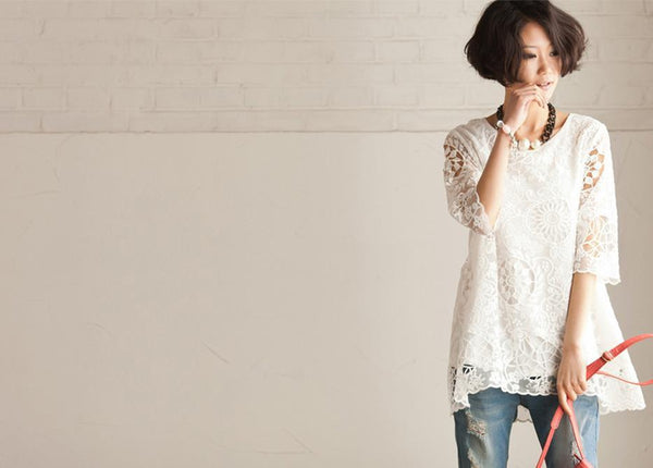 Summer White Bud Silk Shirt- Lovely Female Tops Round Neck Long Sleeve Blouse Loose Cotton Shirt - FantasyLinen
