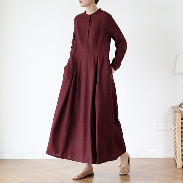 Women's Stand Collar Long SLeeves Linen Dress