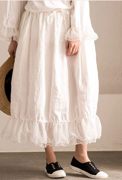 White Joining together Elastic Waist Chiffon linen Skirt Women Clothes Q291BG