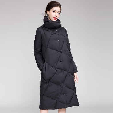 Black Stand Collar Button Down Long Down Coat For Women H0007