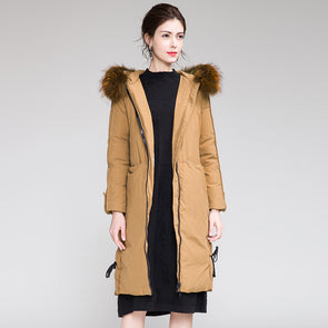 Yellow Hoodie Thicken Long Down Coat For Women H0015