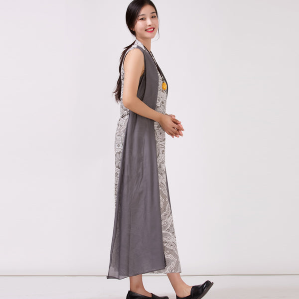 Women's Linen Printed Sleeveless Dress