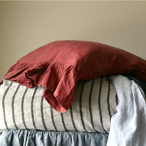Linen Pillowcase With Ruffles Standard Body Pillow Size. Bed Pillows. Washed & Softened