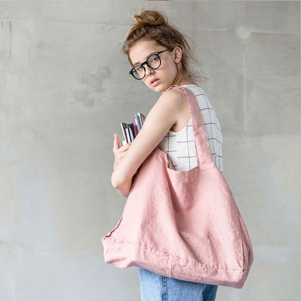 Handmade Casual 100% Linen Shoulder Bag Shopping Bag Custom Bag
