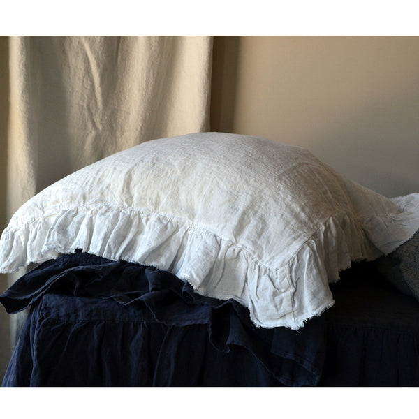 Frayed Ruffle Linen Pillow Case In Midnight Washed & Softened