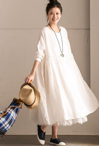White Linen Summer Casual Plus Size Dresses For Women