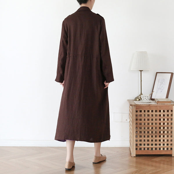Women Coffee Linen Vintage Trench Coat