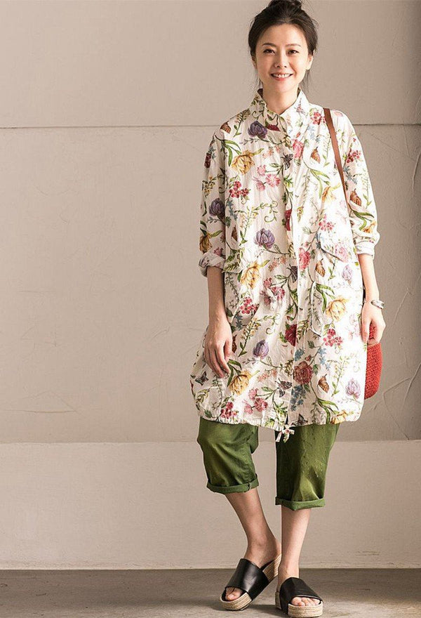 Lovely Flower Cotton Linen Wind Coat Big Pocket Casual Women Clothes W6920B - FantasyLinen