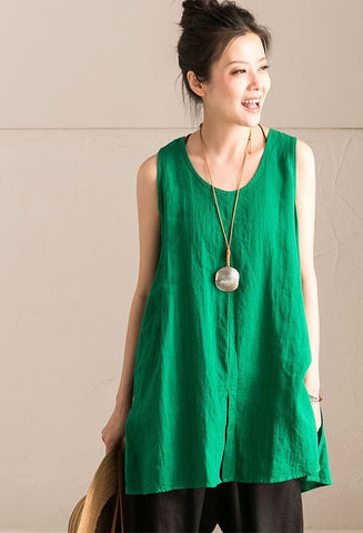 Light Green Cotton Linen Sleeveless Casual Long Shirt Summer and Spring For Women clothes B636B