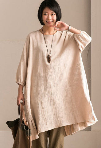 Rice  Korean Style Cotton Linen Falbala Bat Sleeve Round Neck Loose Women Clothes Q8300B