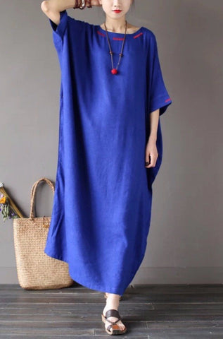 Four Colours Linen Loose Big Size Summer Dresses Maxi Size Women Clothes Q1639