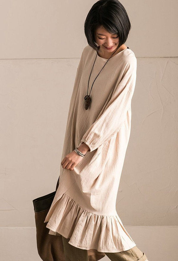 Rice  Korean Style Cotton Linen Falbala Bat Sleeve Round Neck Loose Women Clothes Q8300B - FantasyLinen