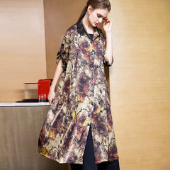 Coffee Print Button Down Casual Wind Coat For Women 8958