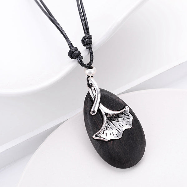 Pendant Retro Wax String Leaf Metal Wood Necklaces For Women