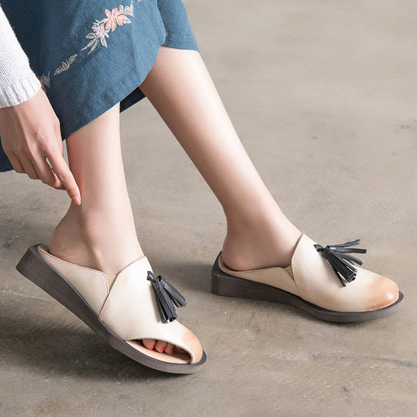 Handmade Comfortable Women Summer Portable Slippers Cowhide Leather Sandals