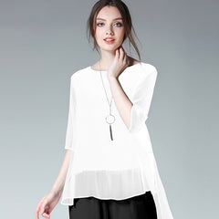 Plus Summer Irregular Chiffon Blouse Women Loose Tops 6555