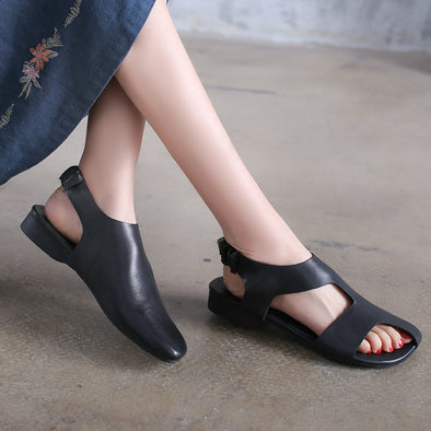 Flat Heel Sandals Women Summer Black Leather Shoes