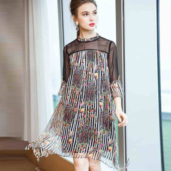 Cute Women Black Silk Dresses Summer Loose Outfits Q21057