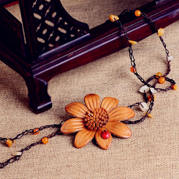 Fashion Handmade Full Gain Leather Big Flower Long Necklaces For Women