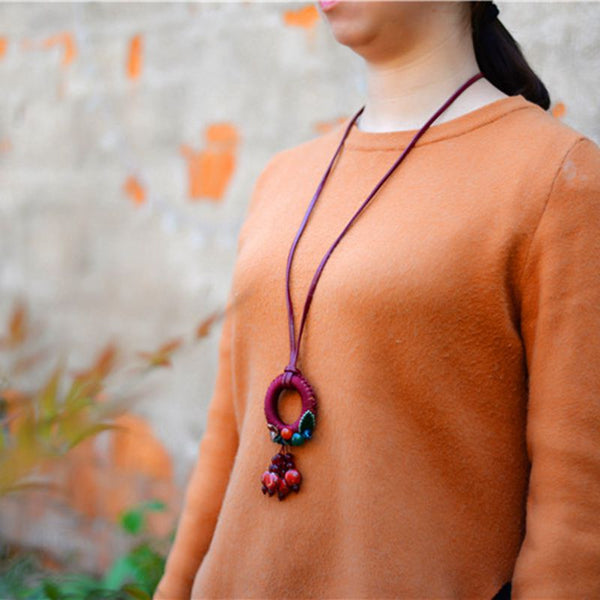 Fashion Simply Handmade Full Gain Leather Flower Long Necklaces For Women