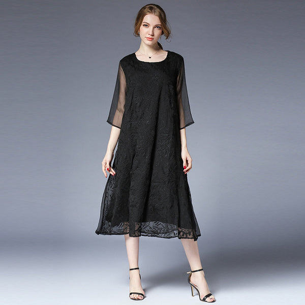 Plus Loose Summer Dresses Casual Pure Color Clothes For Women 6967