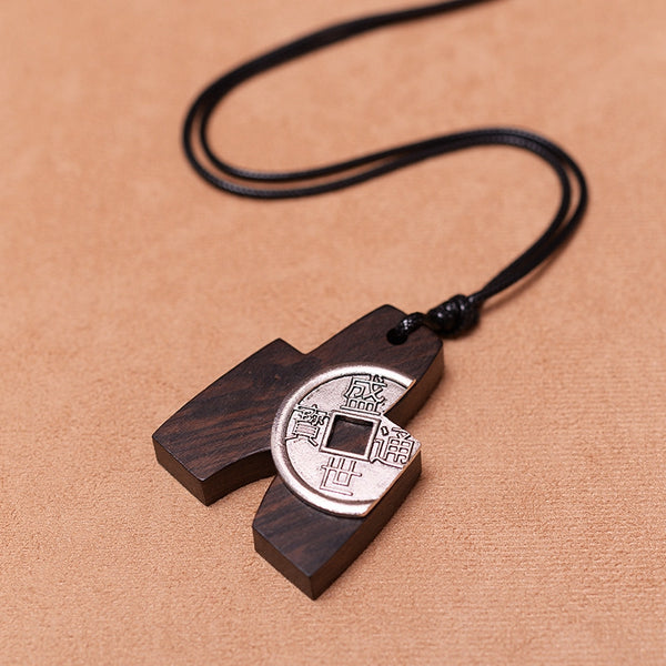 Handmade Fashion Black Pendant Metal Wood Long Necklaces For Women